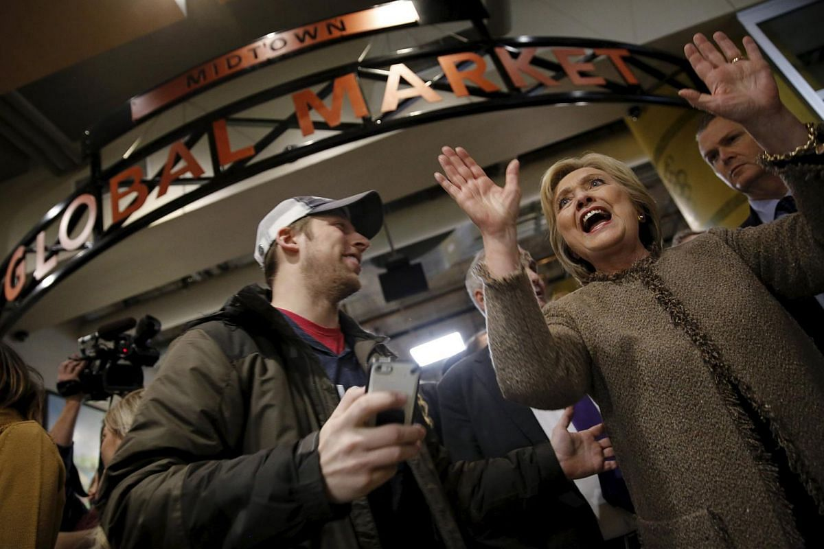 US Democratic presidential candidate Hillary Clinton greeting people at Midtown Global Market in Minneapolis, Minnesota, on March 1, 2016.