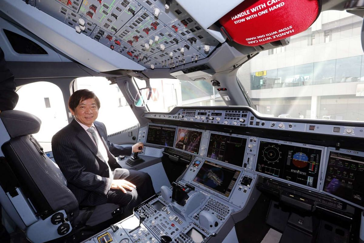 Transport Minister Khaw Boon Wan inside the A350 cockpit.
