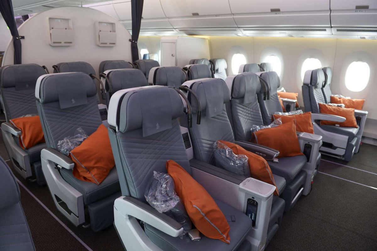 The premium economy class cabin inside the Singapore Airlines A350.