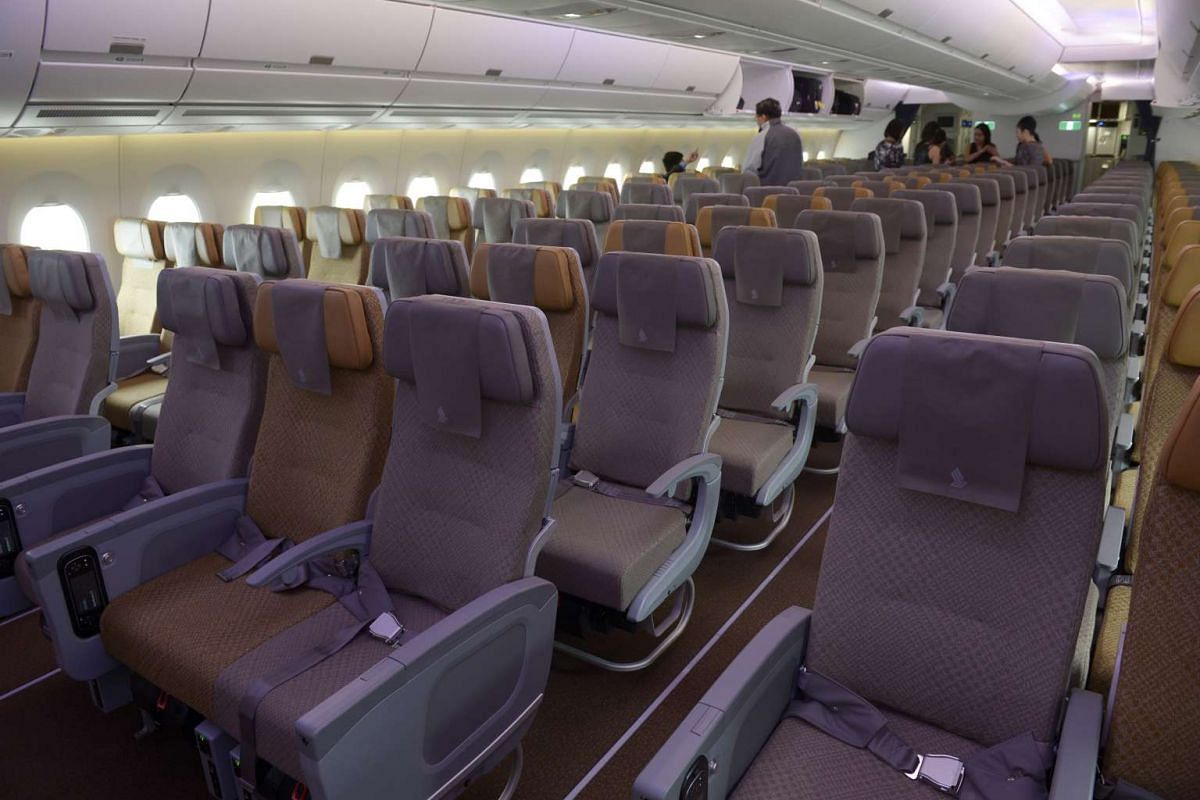 The economy class cabin inside the Singapore Airlines A350.
