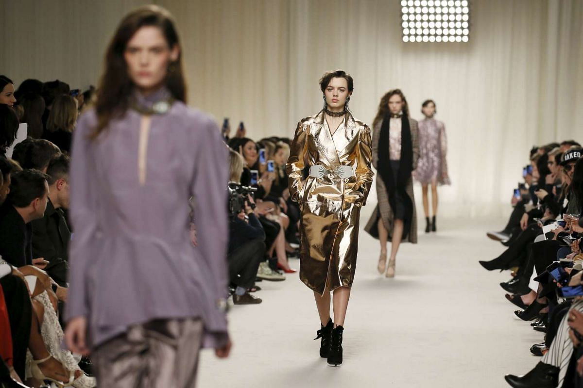 Models present creations by designers Chemena Kamali and Lucio Finale, on March 3, 2016.