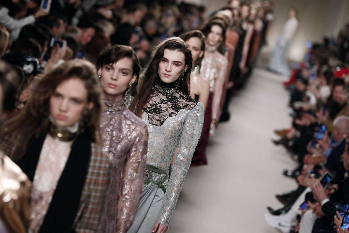 Models present creations for Lanvin during the 2016-2017 Fall/Winter ready-to-wear collection, on March 3, 2016 in Paris.