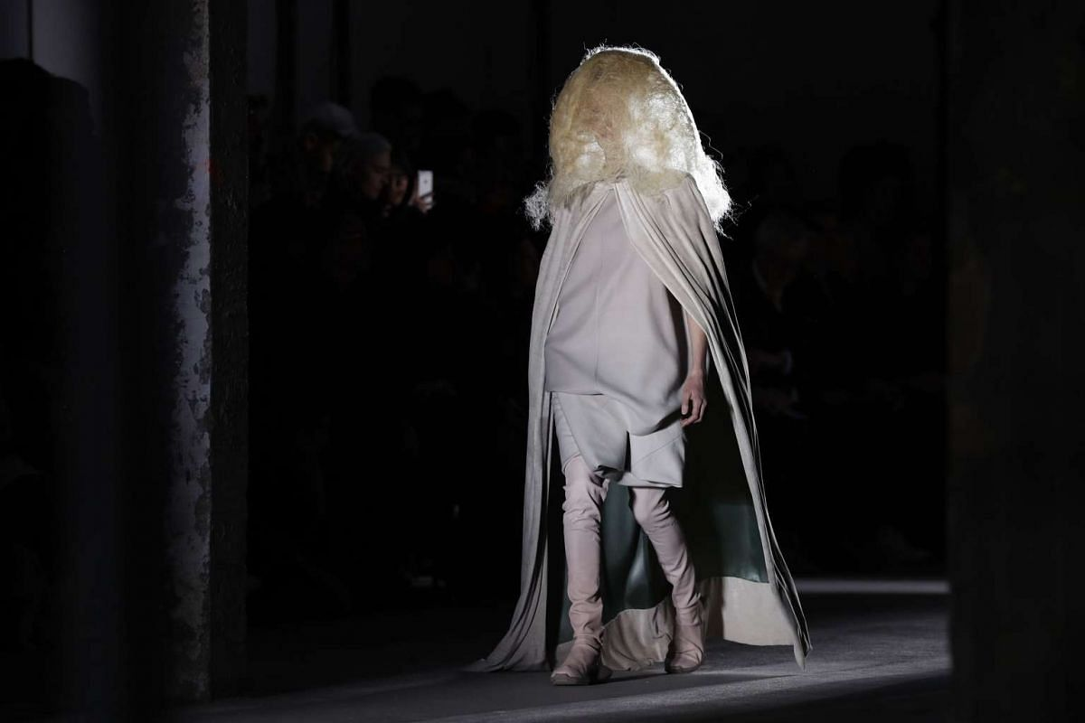 A model presents a creation by US designer Rick Owens, on March 3, 2016.