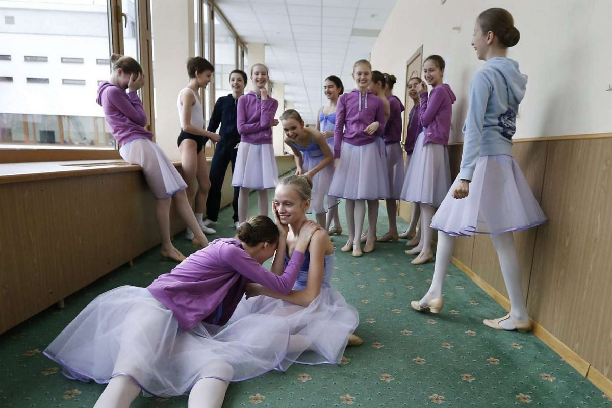 Students rehearse at the concert hall of Moscow State Academy of Choreography in Moscow, on March 3, 2016.