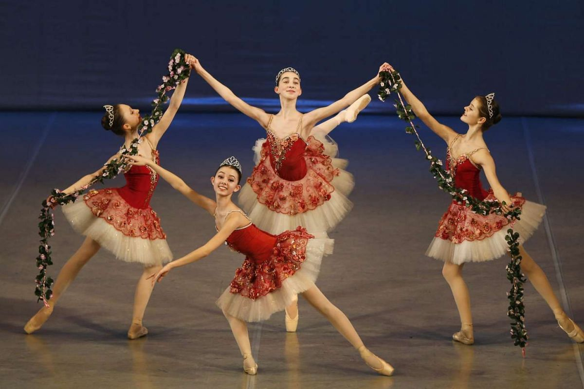 Students perform at the concert hall of Moscow State Academy of Choreography in Moscow, on March 3, 2016.