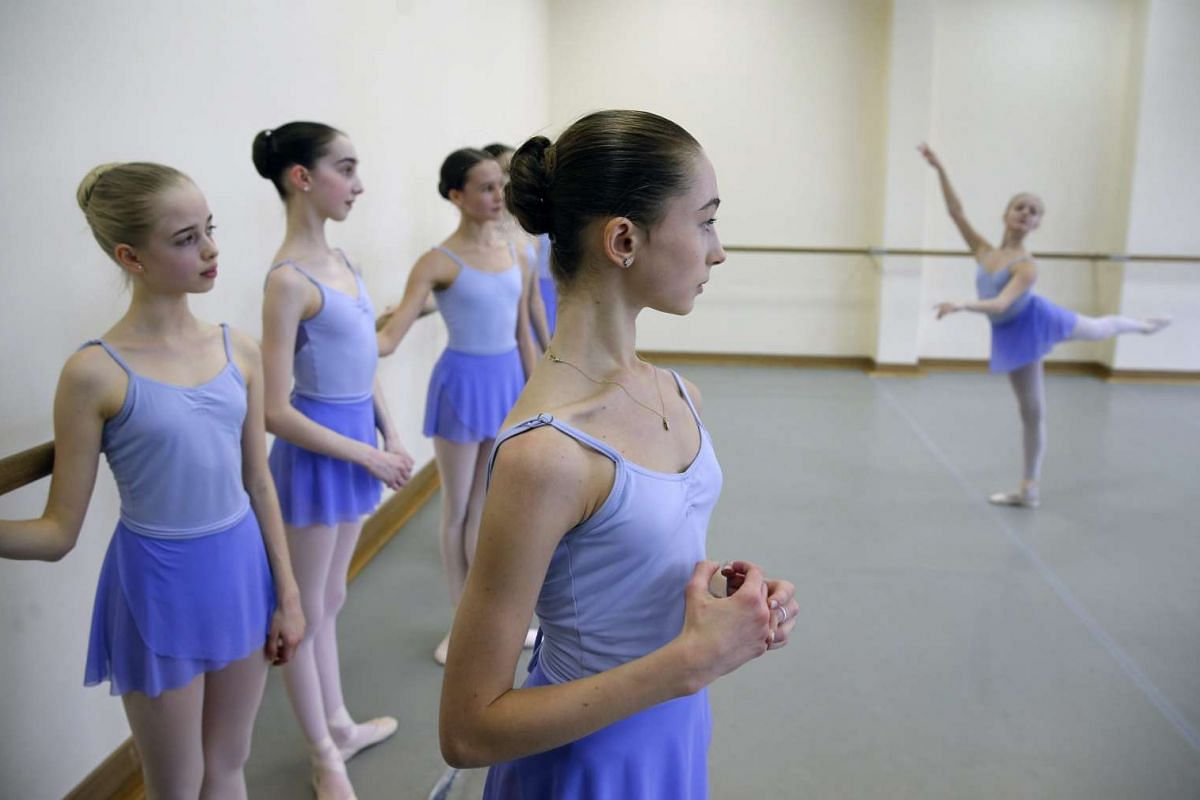 Students take part in a class at the Moscow State Academy of Choreography in Moscow, on March 3, 2016.