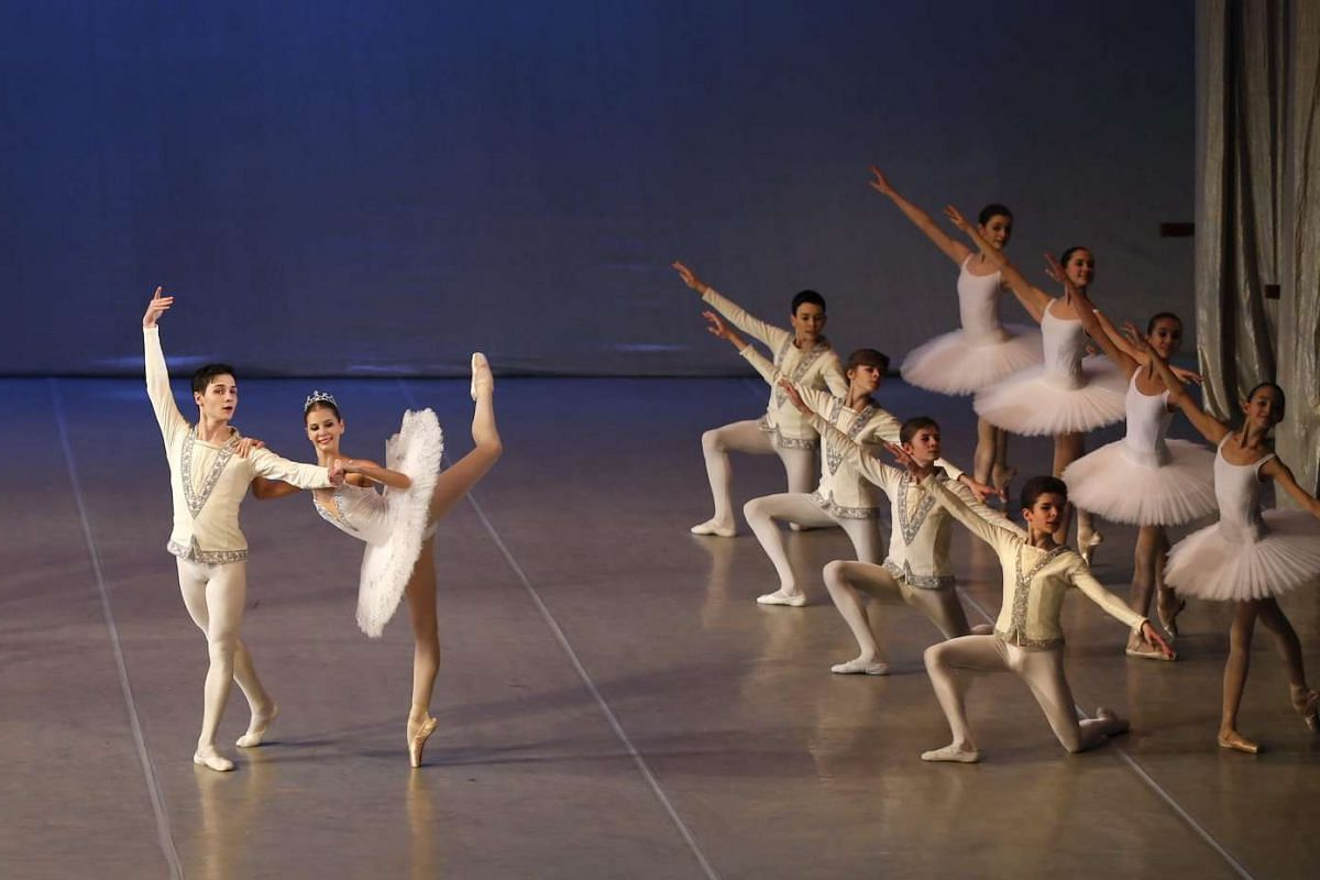 Students perform at the concert hall of Moscow State Academy of Choreography in Moscow, Russia, on March 3, 2016.