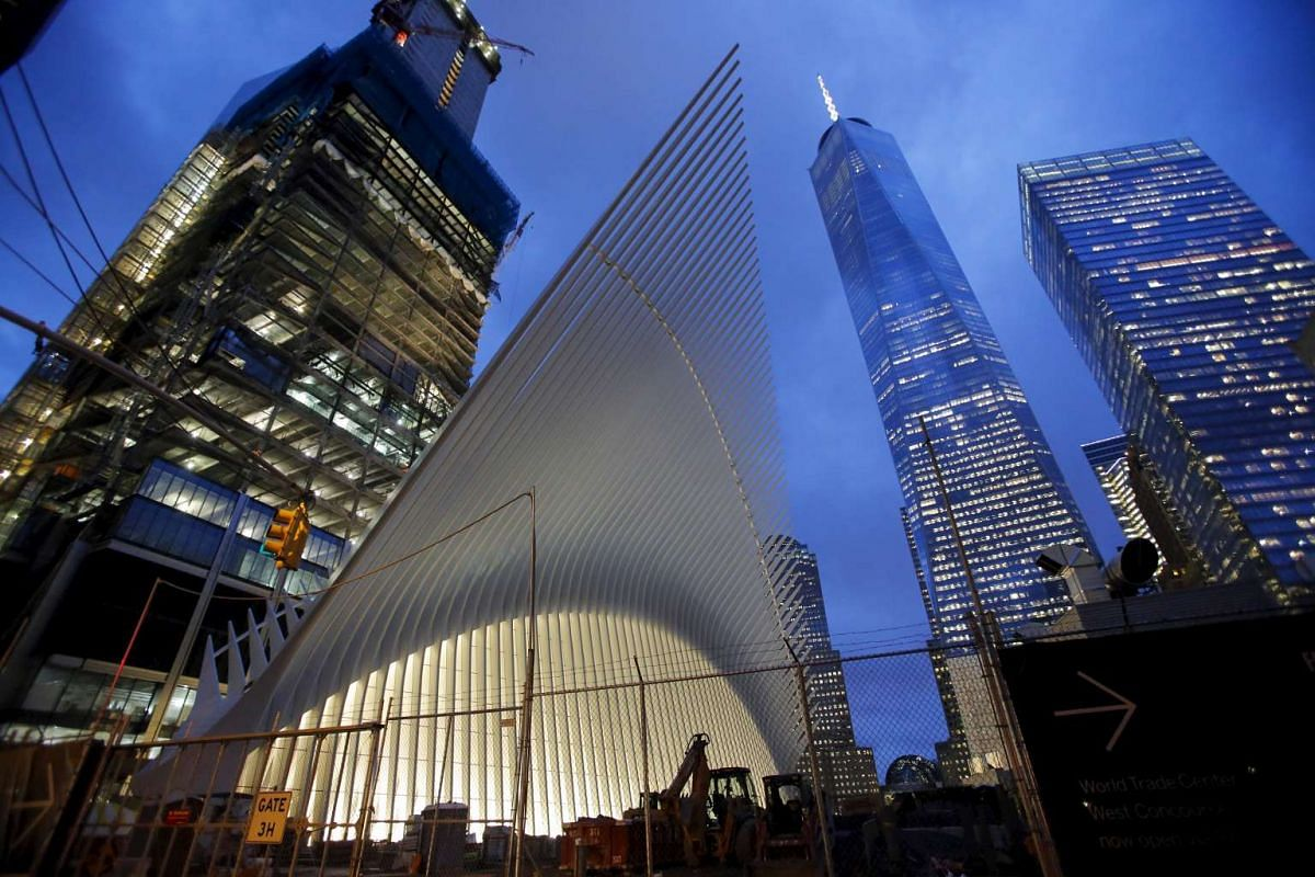 Part of the Oculus, the centrepiece of the World Trade Center Transportation Hub, next to the One World Trade Center in New York, on Feb 25, 2016.
