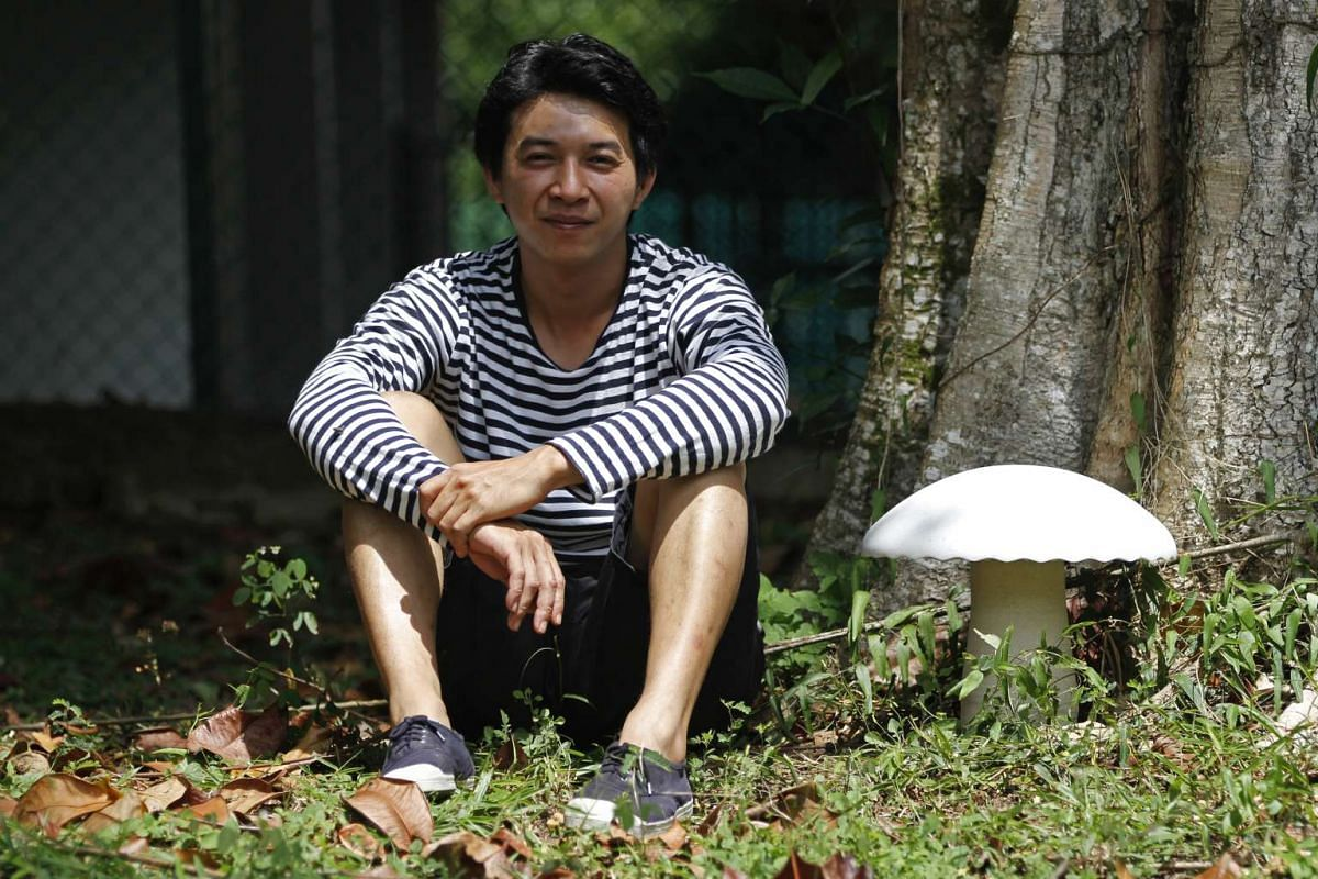 Mr Ivan Lee of Weekend Worker, a ceramics studio that made mushroom-shaped lamps out of clay and solid surfaces.