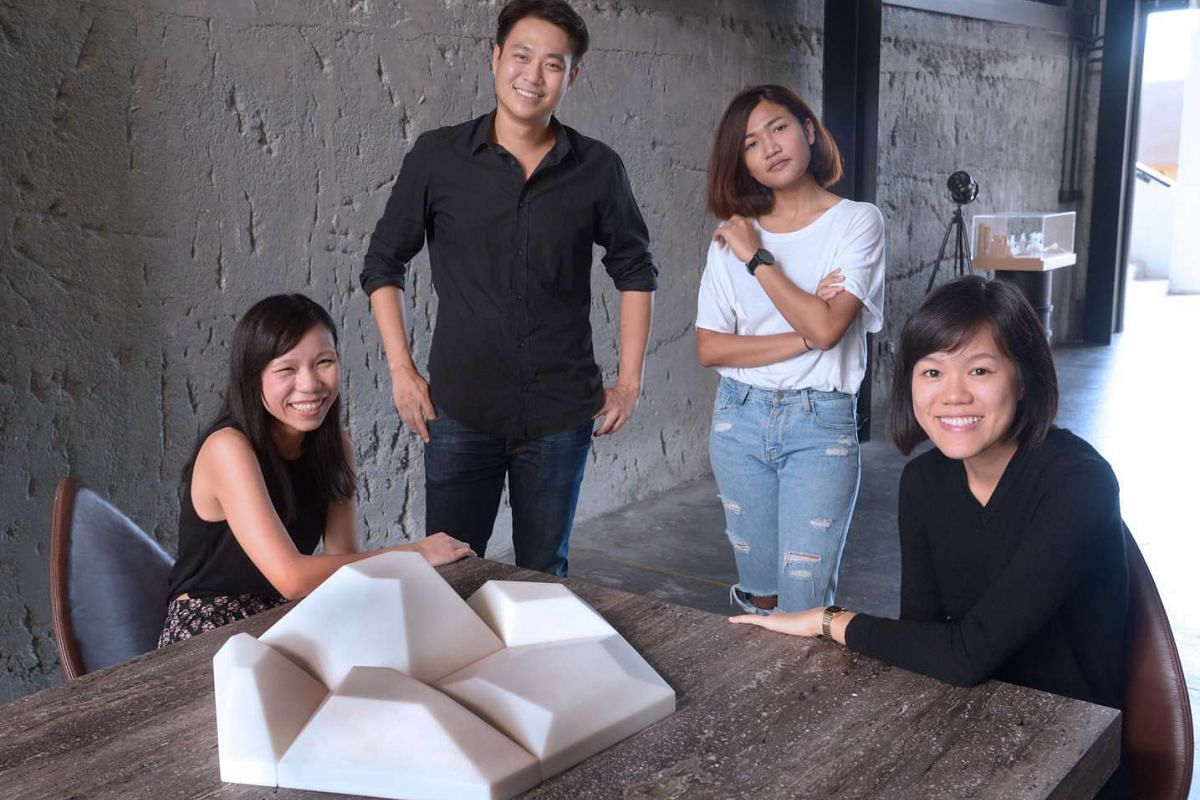 (From far right) Ms Wong Zi Xin, 27; Ms Montakan Manosong, 26; Mr Nuntawat Tasanasangsoon, 33; and Ms Fiona Chua, 25 of Park + Associates designers created a solid surface honeycomb-like product that can be used on building facades.