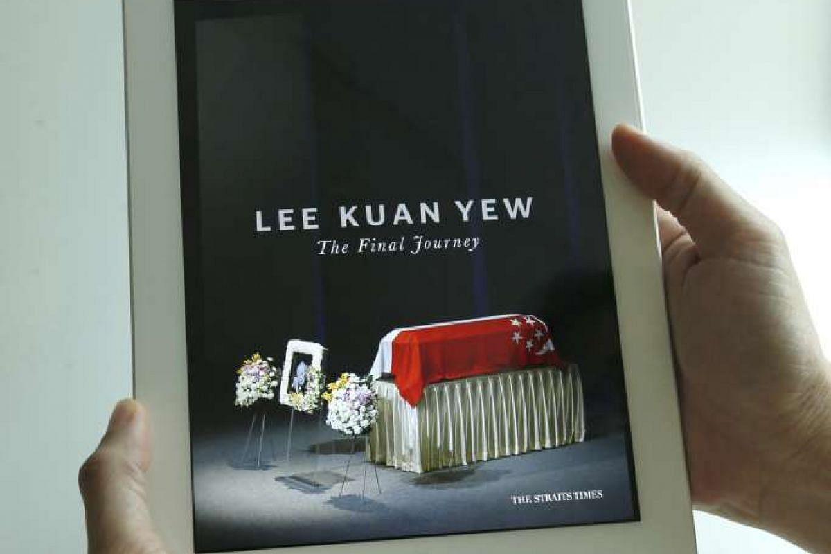 "ST's Sally Lam, Lim Kai Li, Ng Kai Ling, David Gan, Basil Edward Teo, Chang Ai-Lien and Tay Hwee Peng won Best Digital Package of the Year for ""Lee Kuan Yew: The Final Journey"", an e-book in The Straits Times Star app. It compiles over 100 ima"