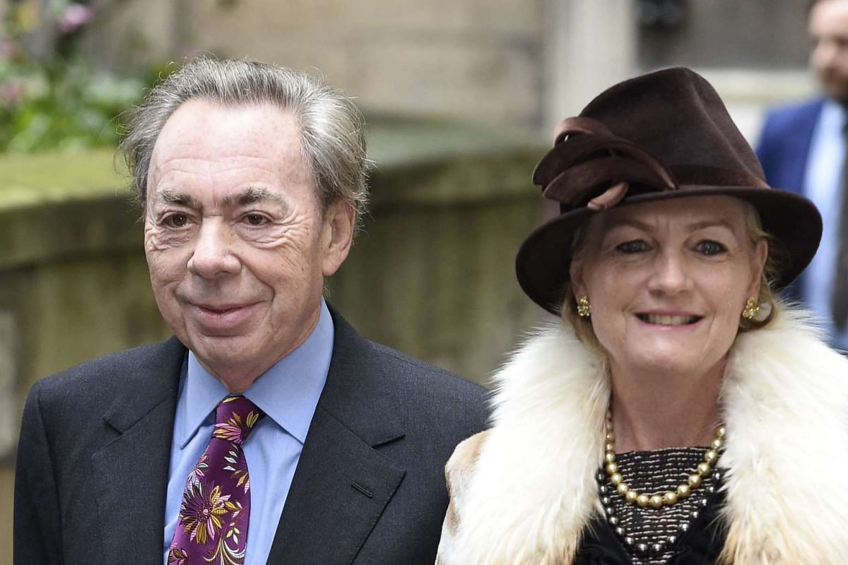 British composer Andrew Lloyd Webber and his wife Madeleine Gurdon arriving at St Bride's Church in London for a service on Saturday (March 5) to celebrate the wedding between media mogul Rupert Murdoch and former model Jerry Hall.