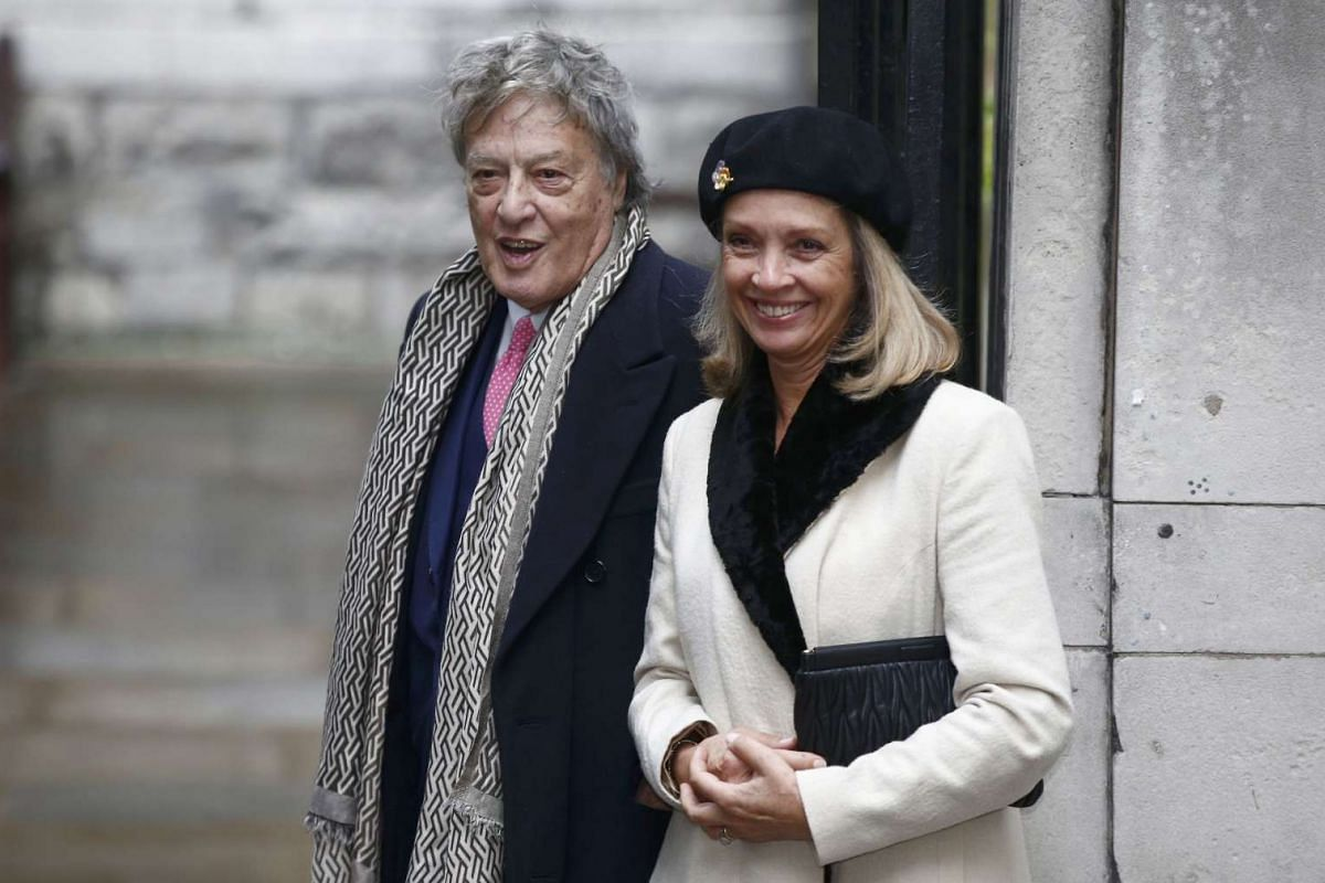 Playwright Tom Stoppard arriving at St Bride's Church for a service to celebrate the wedding between media Mogul Rupert Murdoch and former supermodel Jerry Hall in London on Saturday (March 5).
