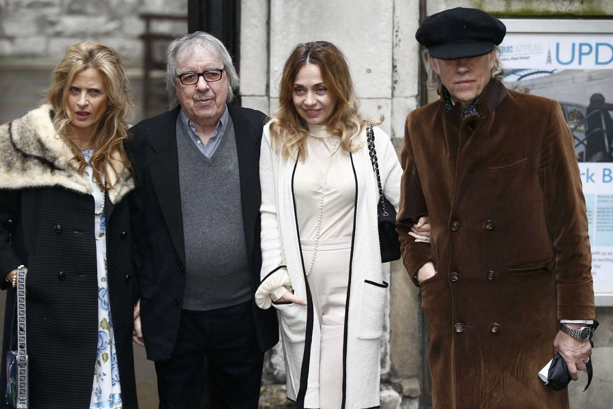 Musician Bob Geldof (right) and his wife Jeanne Marine (second, right) arriving with musician Bill Wyman and his wife Suzanne Accosta at St Bride's Church for a service to celebrate the wedding between media Mogul Rupert Murdoch and former supermodel