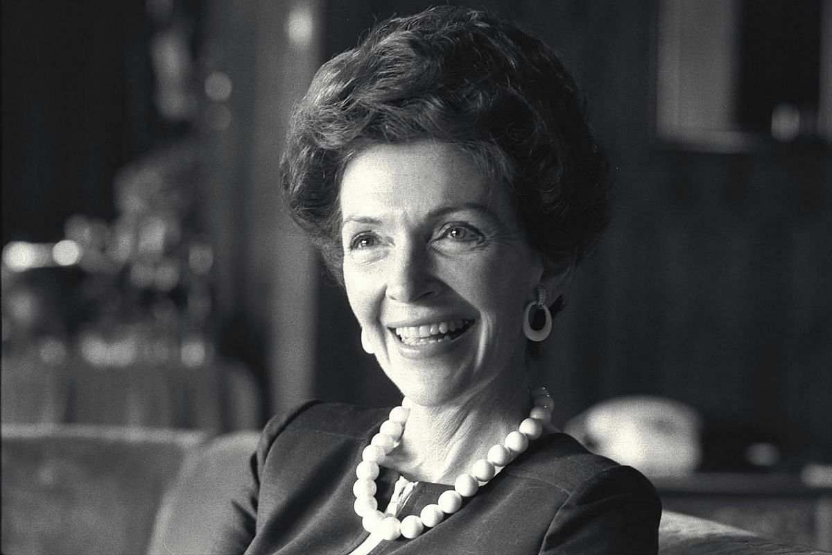 Mrs Nancy Reagan at the Hilton Hotel in Singapore in 1973. Her husband Ronald Reagan, later a US president, was then President Richard Nixon's special emissary to Asia.