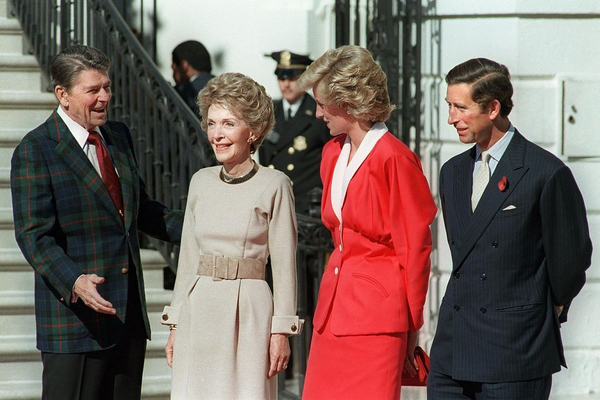 Then US President Ronald Reagan and First Lady Nancy Reagan welcoming to the White House Princess Diana and her husband Prince Charles on Nov 9, 1985.