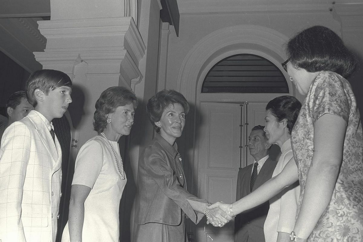 President Sheares and his wife gave a luncheon in honour of Mr Ronald Reagan, then the US President's special emissary to Asia, and his wife at the Istana in 1971.