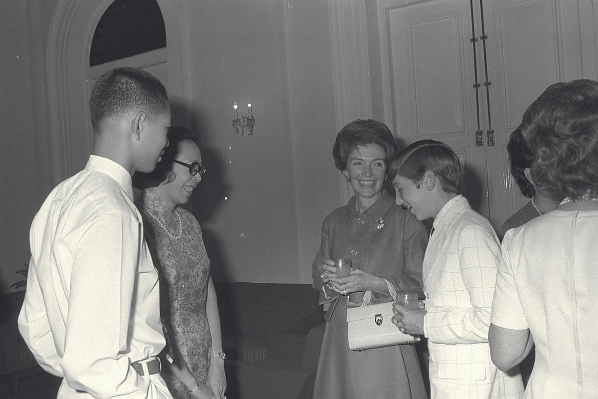 Mrs Nancy Reagan (centre) at the Istana in 1971 with the late Mrs Lee Kuan Yew (second from left) for a luncheon given by then President Benjamin Sheares' wife, Madam Yeo Seh Geok.