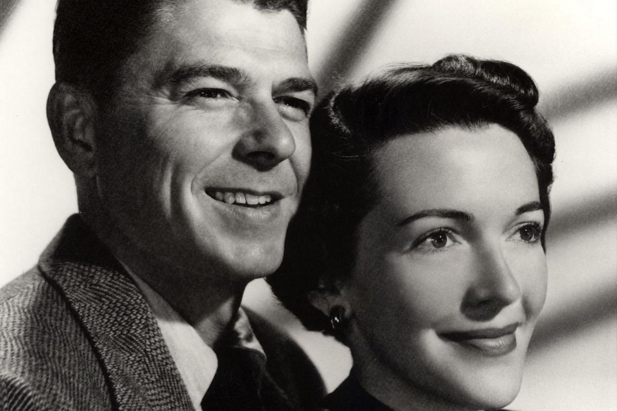 The formal engagement photograph of Mr Ronald Reagan and the then Nancy Davis.