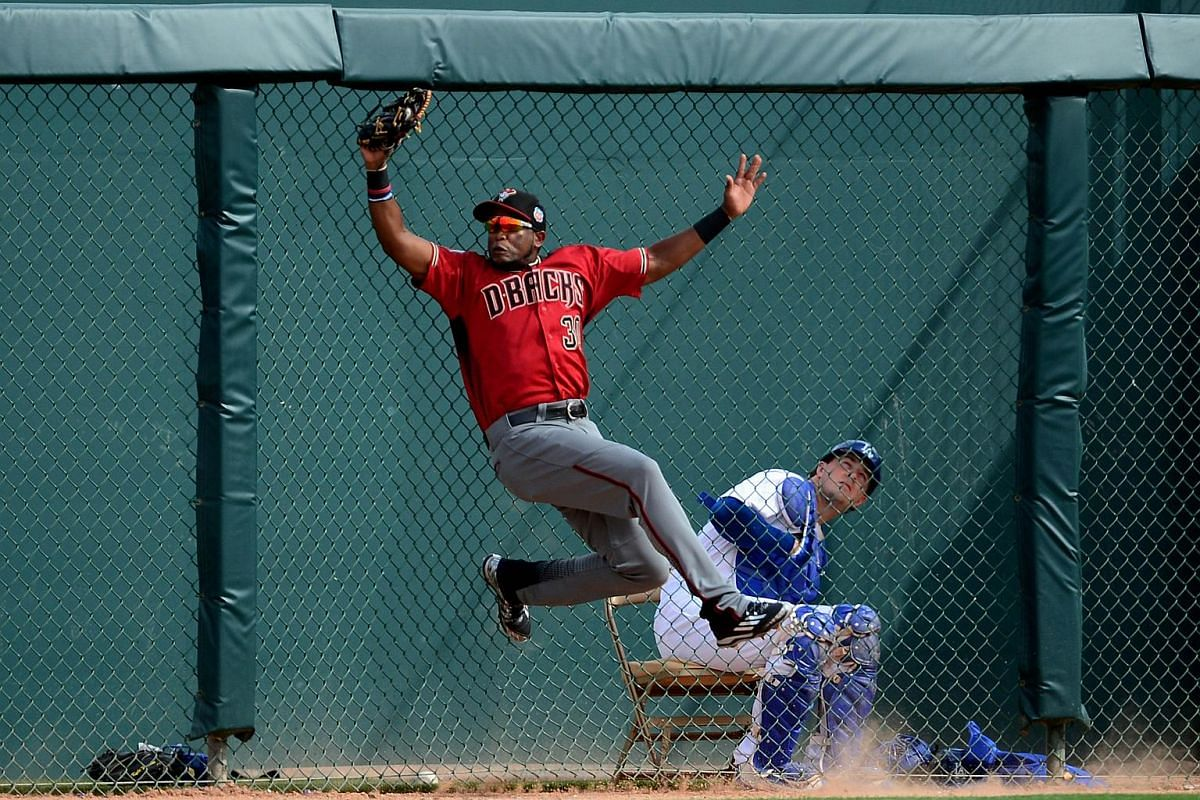 Socrates Brito of the Arizona Diamondbacks catches a fly ball during a spring training game against the Los Angeles Dodgers in Glendale, Arizona, on March 5, 2016.