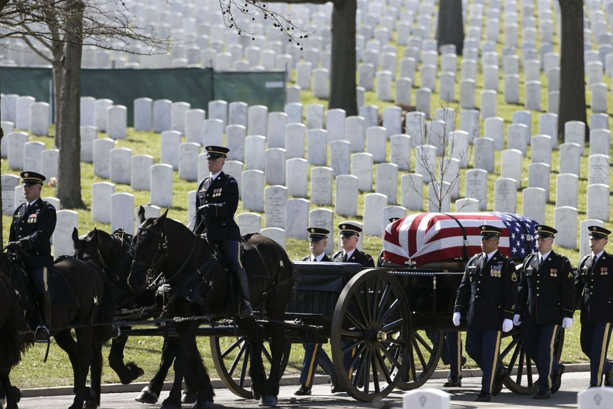The funeral procession for US Army Sergeant First Class Matthew McClintock, who was killed in action in Afghanistan, in Virginia, on March 7, 2016 .
