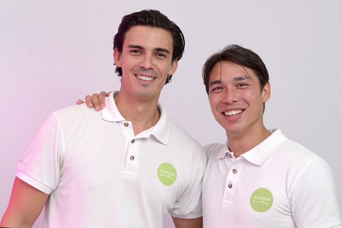 Sustenir Agriculture, founded by Martin Lavoo (right) and Benjamin Swan, is the largest indoor commercial farm in Singapore.