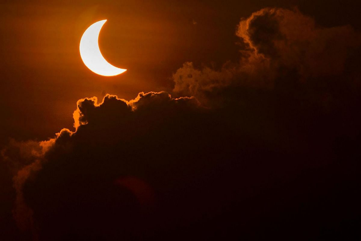 A solar eclipse is pictured from Banda Aceh on March 9, 2016.