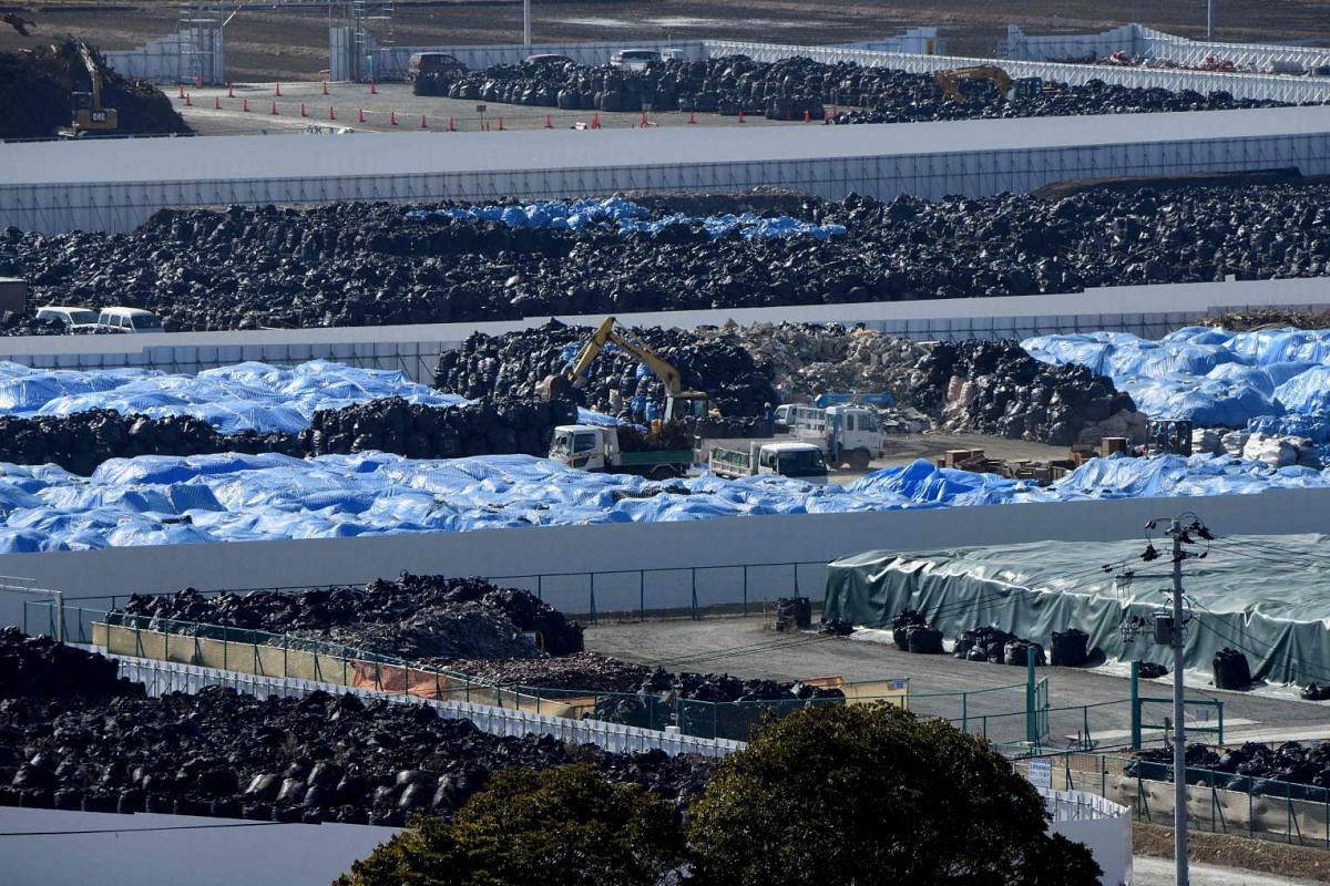 This photo taken on Feb 12, 2016 shows nuclear contamination piled on a temporary place in Naraha, Fukushima prefecture.