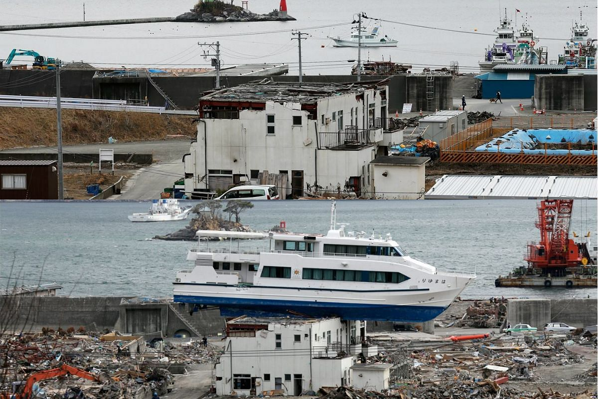 A picture combo shows (bottom) a sightseeing boat which was swept onto the roof of a guesthouse by the tsunami in Otsuchi, northern Japan on May 7, 2011, and (top) a view of the same area on Feb 27, 2016.