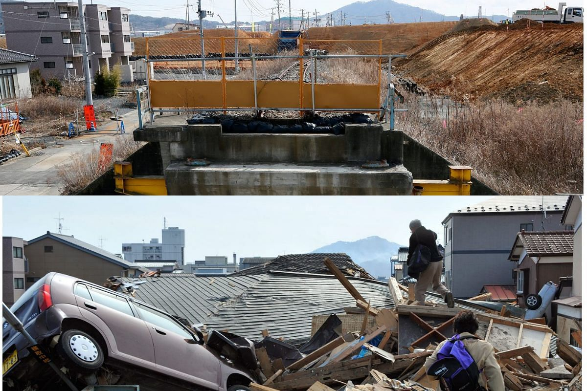 A picture combo shows (bottom) an elderly couple climbing over debris to head to their house at the tsunami-devastated area in Kesennuma on March 14, 2011, and (top) a view of the same area on Feb 27, 2016.
