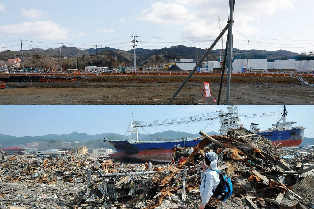 A picture combo shows (bottom) Yumiko Ogata, 46, covering her face as she searches for her 68-year-old mother Seiko Sato in tsunami and fire-devastated Shikaori district on April 15, 2011, and (top) a view of the same area on Feb 27, 2016.