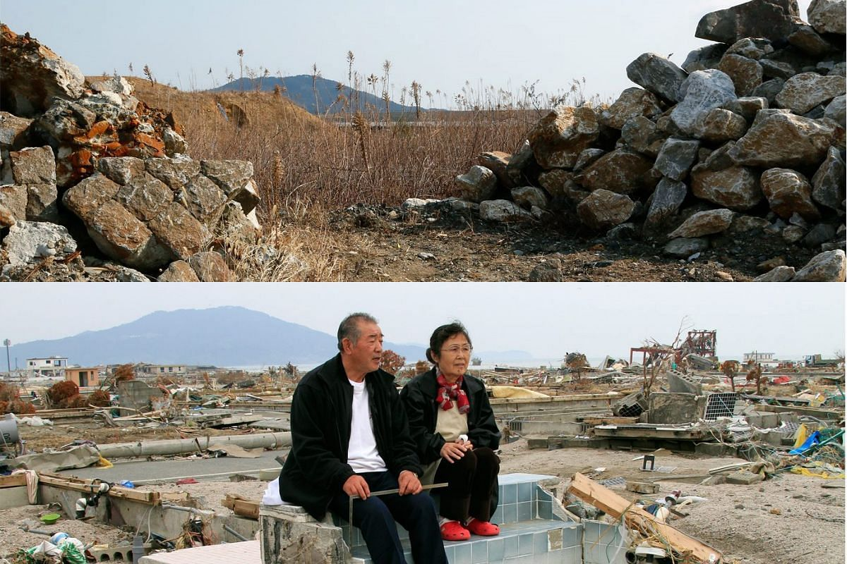 A picture combo shows (bottom) Teizo Terasaka (left), 70, and his wife Keiko, 68, sit on the remains of the bath tub of their house in tsunami-devastated city of Rikuzentakata on May 1, 2011, and (top) a view of the same area on Feb 27, 2016.