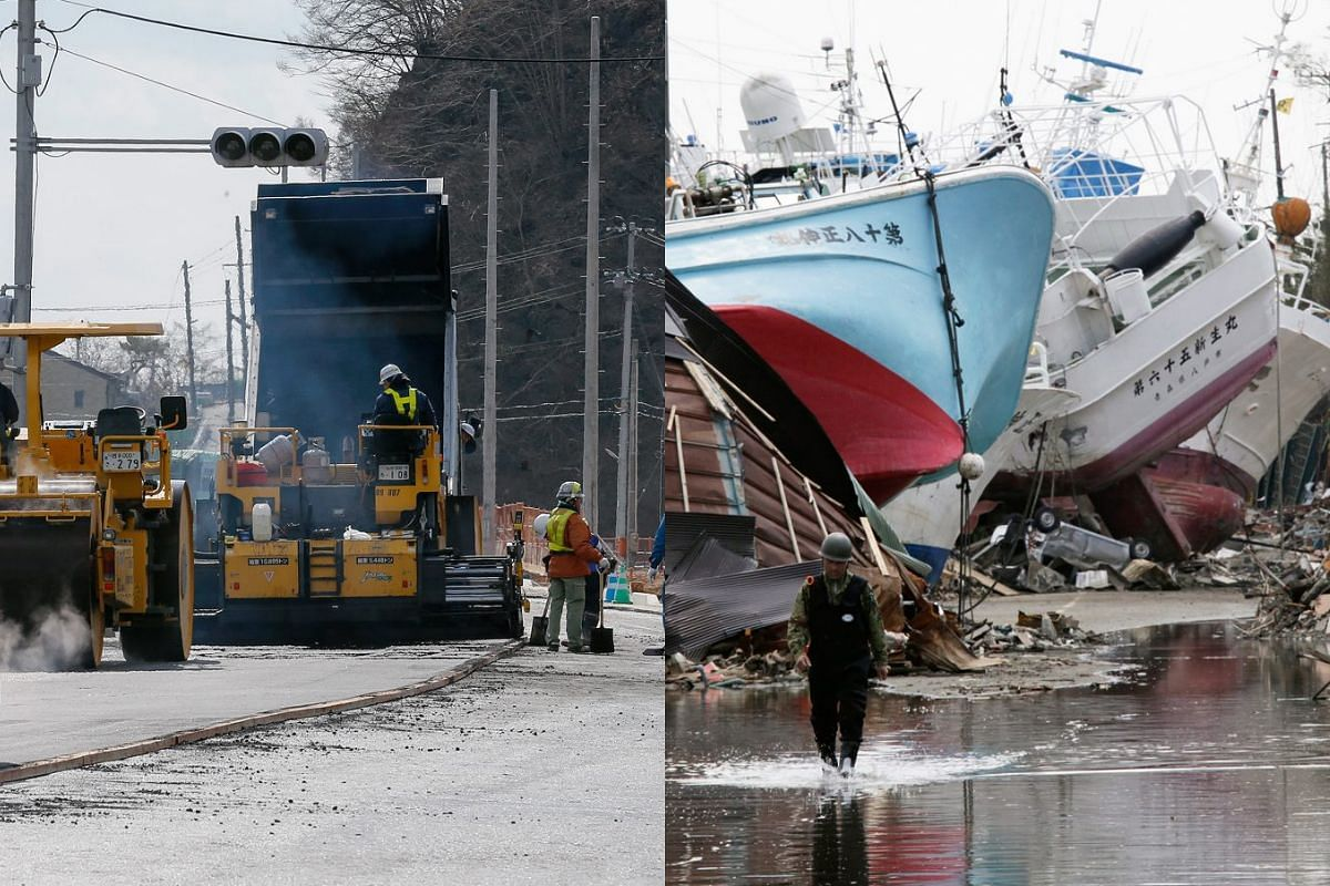 A picture combo shows (right) fishing vessels washed ashore in tsunami and fire-devastated Shishiori district of the fishery port city of Kesennuma on April 28, 2011, and (left) a view of the same area on Feb 27, 2016.
