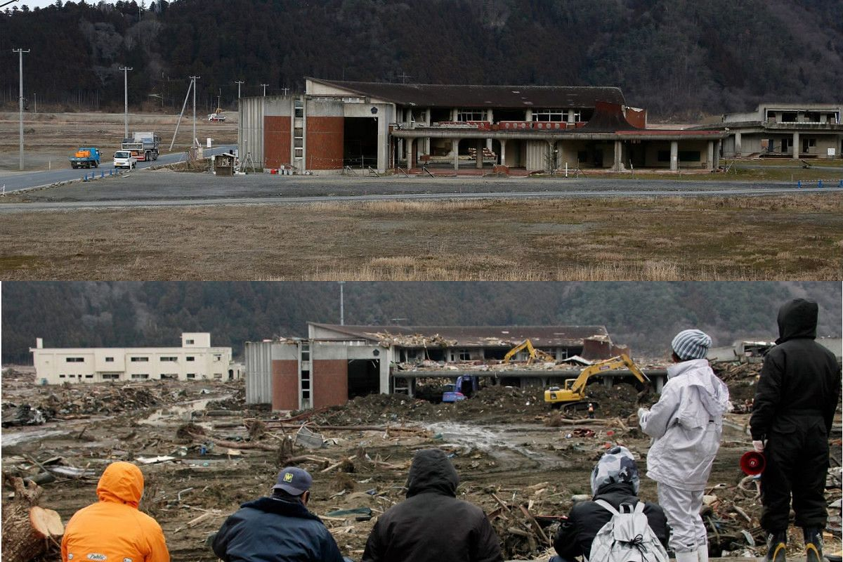 A picture combo shows (bottom) children and teachers of Okawa elementary school watching as search work is conducted in Ishinomaki on March 22, 2011, and (top) a view of the same area on Feb 26, 2016.