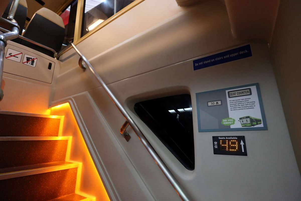 The staircase on Bus B, one of the concept double-decker buses, features LED lights.