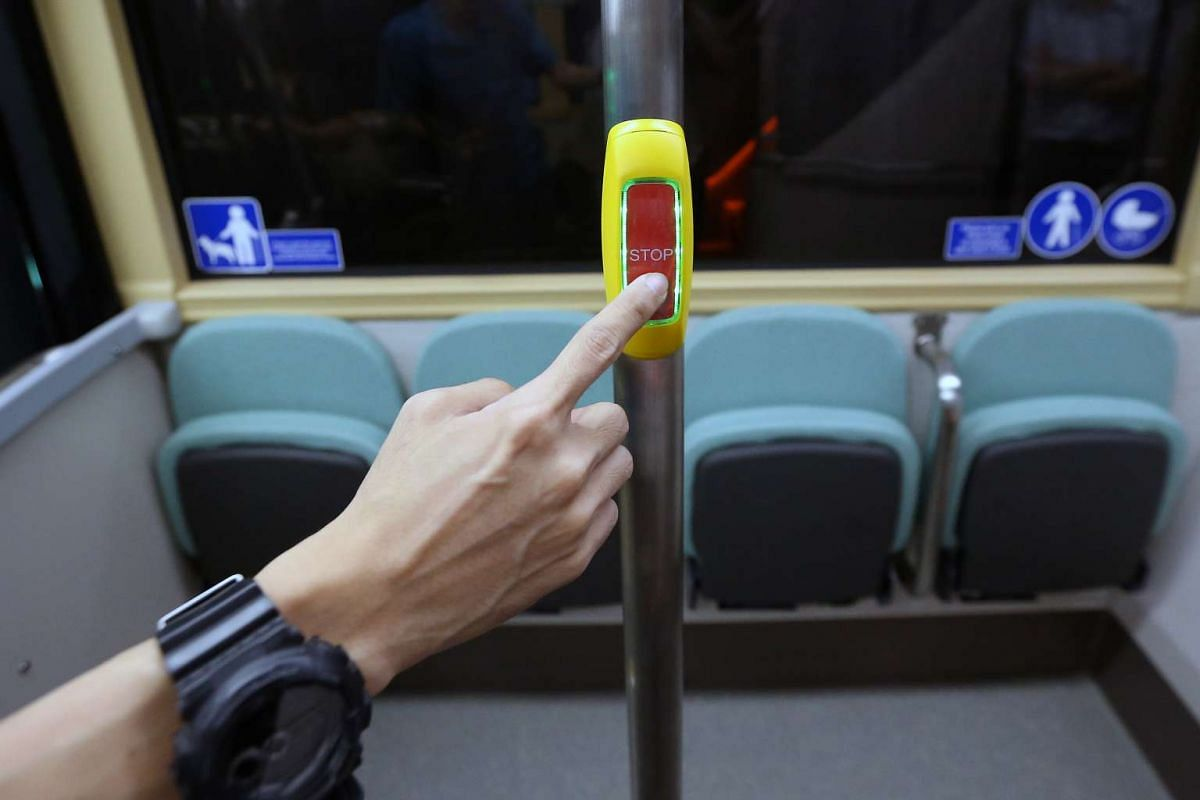 A sensor bus button on Bus B, one of the concept double-decker buses.