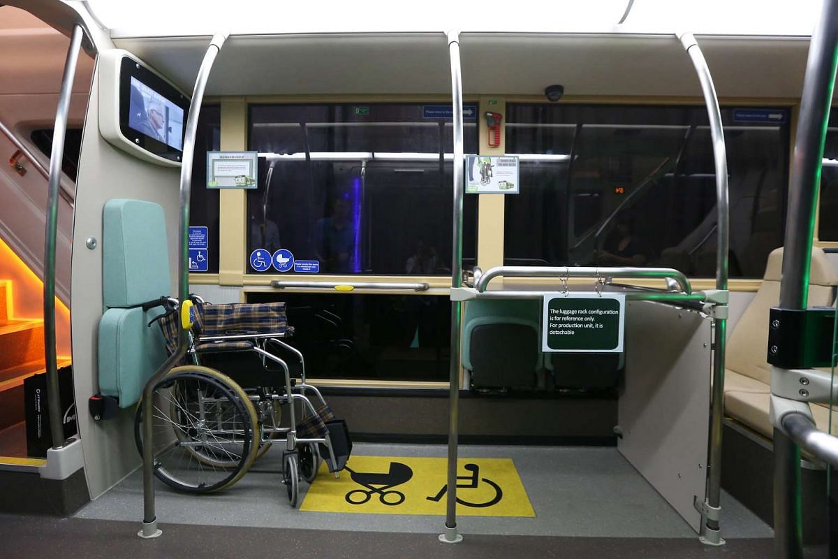 A designated area for prams and wheelchairs onboard Bus B, one of the concept double-decker buses.