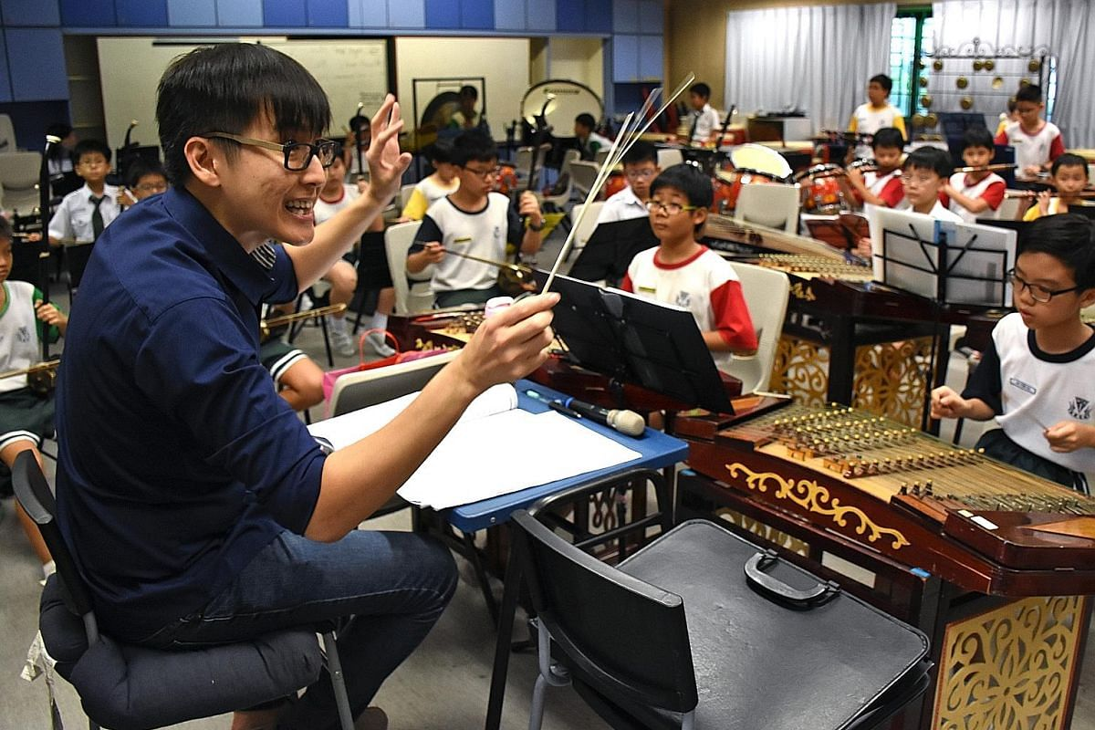 Mr Dan Kwoh (above), co-curricular activity dance instructor at Methodist Girls' School (Secondary), involves his students in the creative process. Mr Yang Ji Wei conducts the Chinese orchestras in six schools, including Catholic High School (Primary