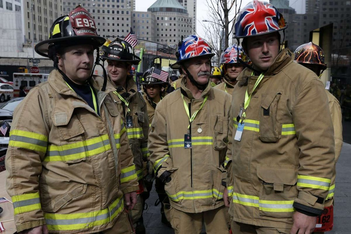 Firefighters from New Zealand before the start of the 2nd Annual New York City Firefighter Stair Climb at 4 World Trade Center in New York on March 13, 2016.