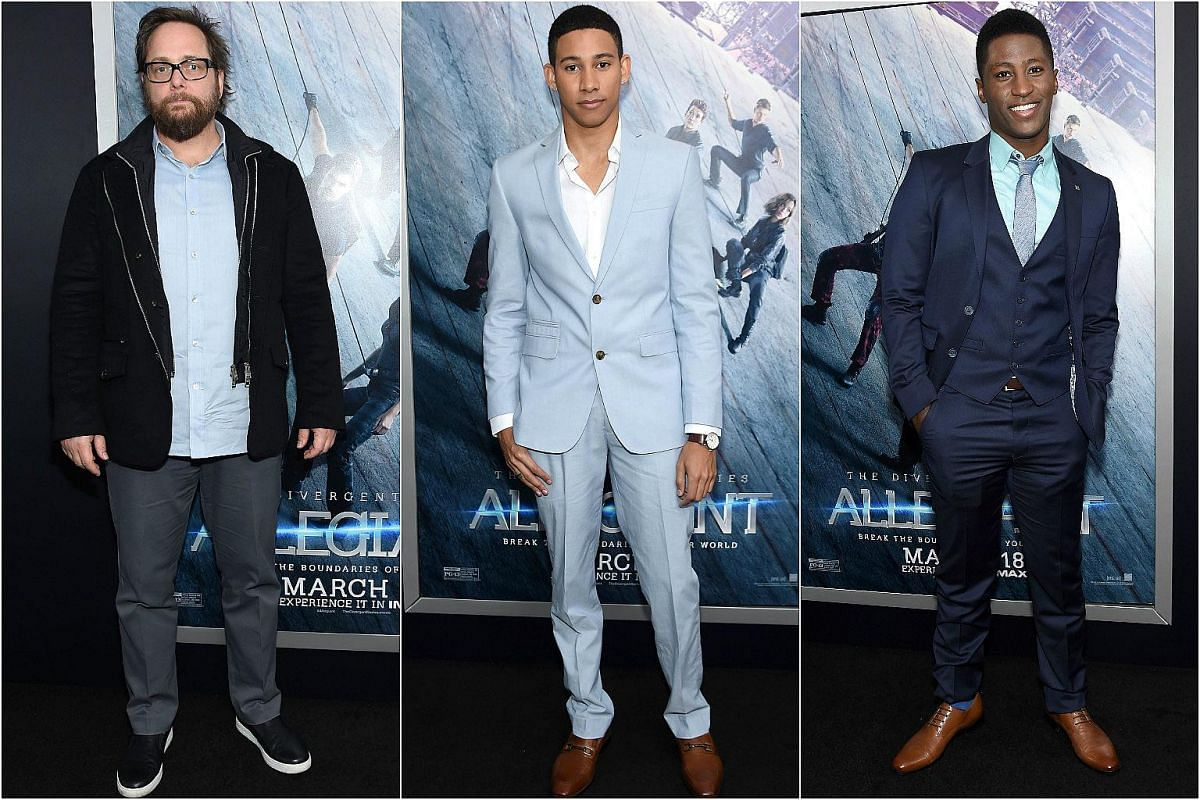 From left: Director Robert Schwentke, with actors Keiynan Lonsdale and Joseph David-Jones at the New York premiere of Allegiant, on March 14, 2016.