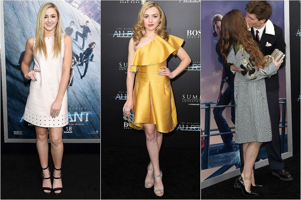 From left: Chloe Lukasiak, Peyton List, Violetta Komyshan and Ansel Elgort at the New York premiere of Allegiant, on March 14, 2016.