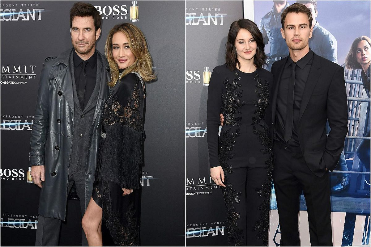 From left: Dylan McDermott, Maggie Q, Shailene Woodley and Theo James at the New York premiere of Allegiant, on March 14, 2016.