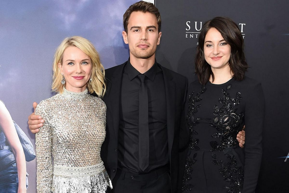 From left: Actors Naomi Watts, Theo James, and Shailene Woodley attend the New York premiere of Allegiant, on March 14, 2016.