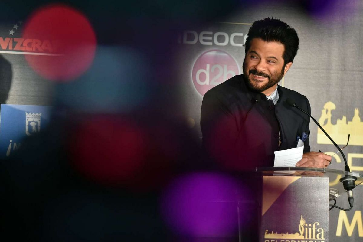 Indian actor Anil Kapoor at a press conference to present the Bollywood Oscars in Madrid, on March 14, 2016.