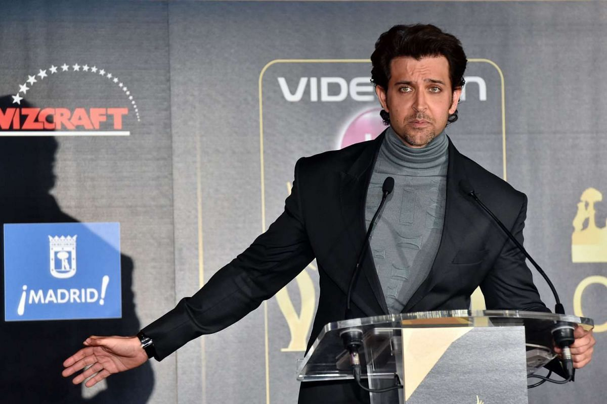 Indian actor Hrithik Roshan at a press conference present the Bollywood Oscars in Madrid, on March 14, 2016.