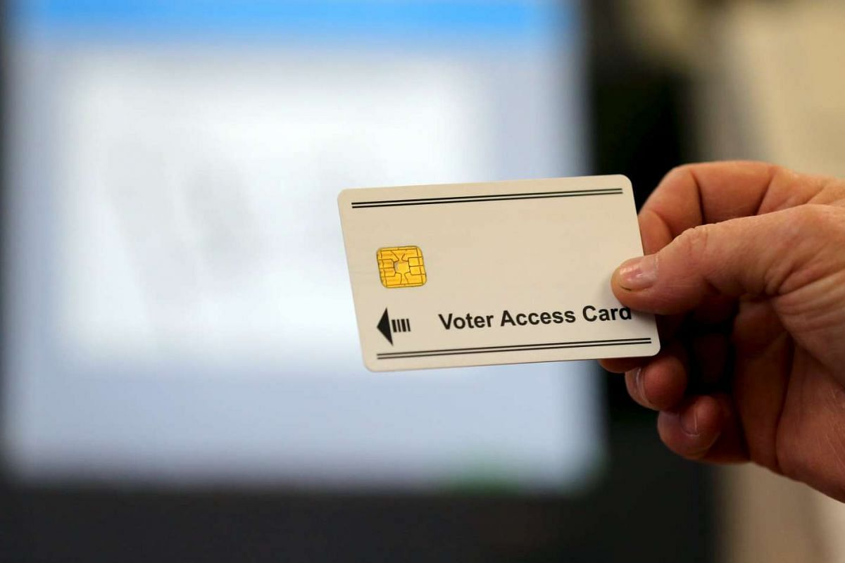 A voter access card is shown for voting in Valley City, Ohio, on March 15, 2016.