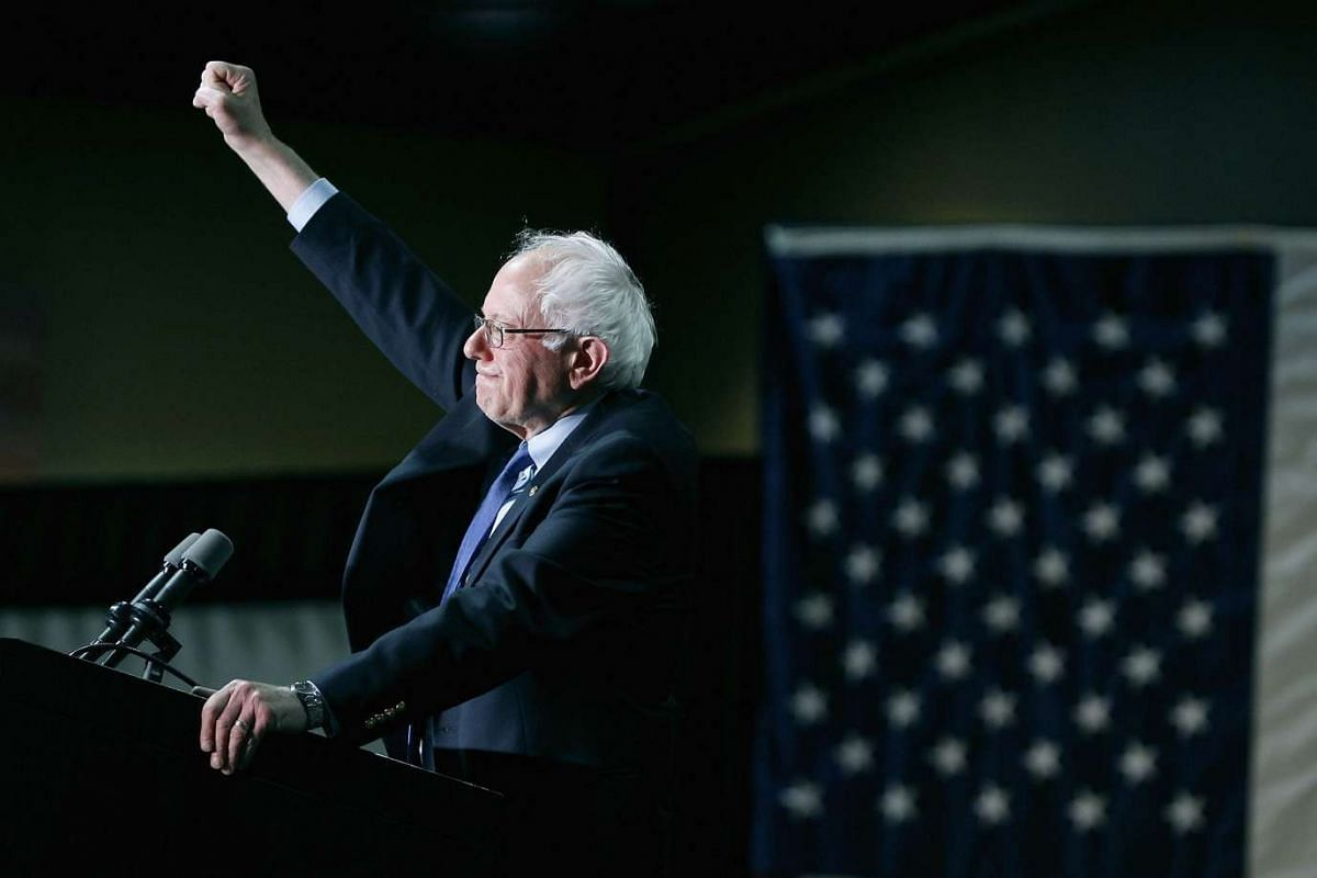 Democratic presidential candidate Bernie Sanders speaks to a crowd gathered at the Phoenix Convention Centre during a campaign rally on March 15, 2016, in Phoenix, Arizona.
