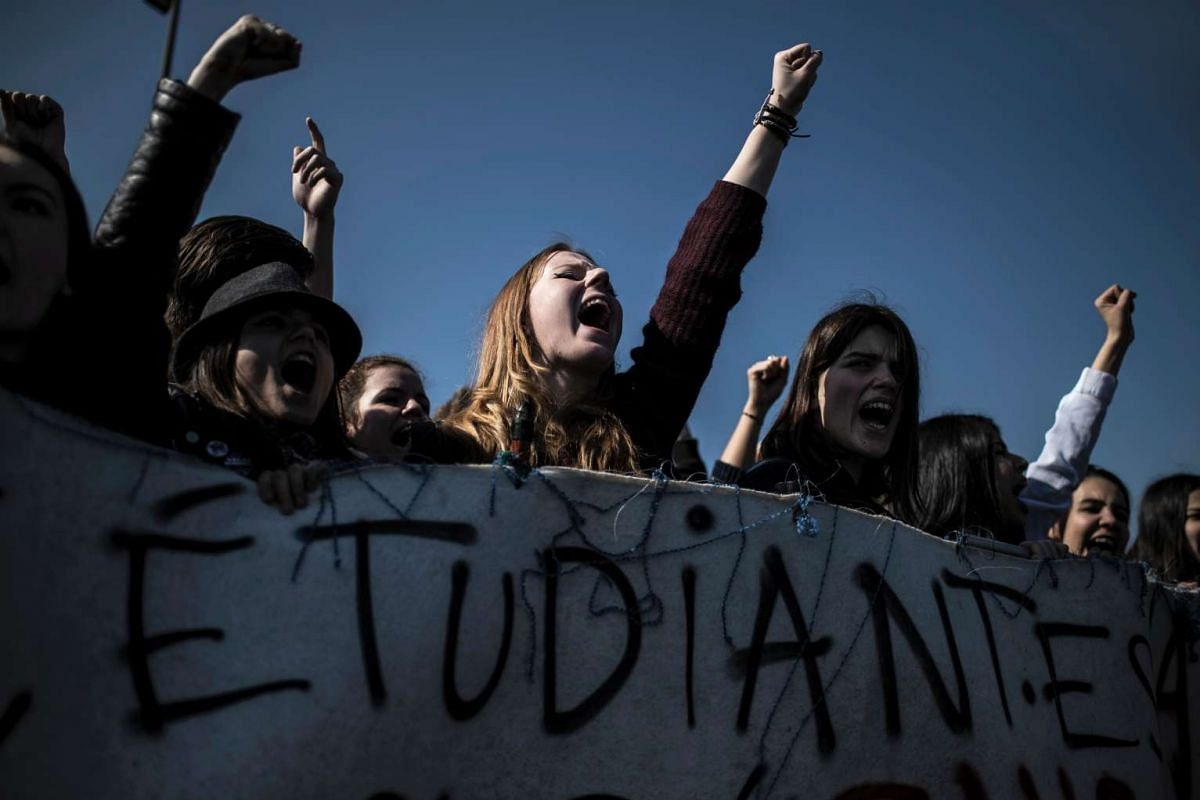 Students demonstrate against the government's proposed labour reform on March 17, 2016, in Lyon, France. PHOTO: AFP
