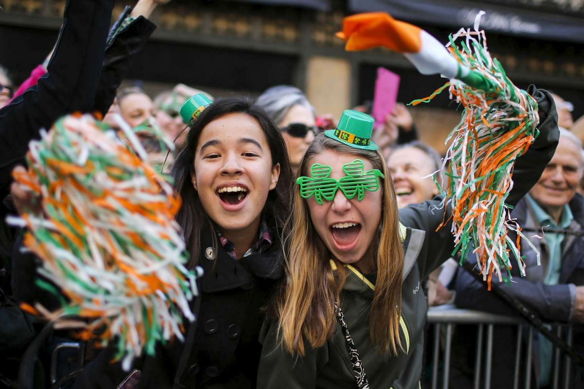 People take part during the St Patrick's Day parade in New York, on March 17, 2016.