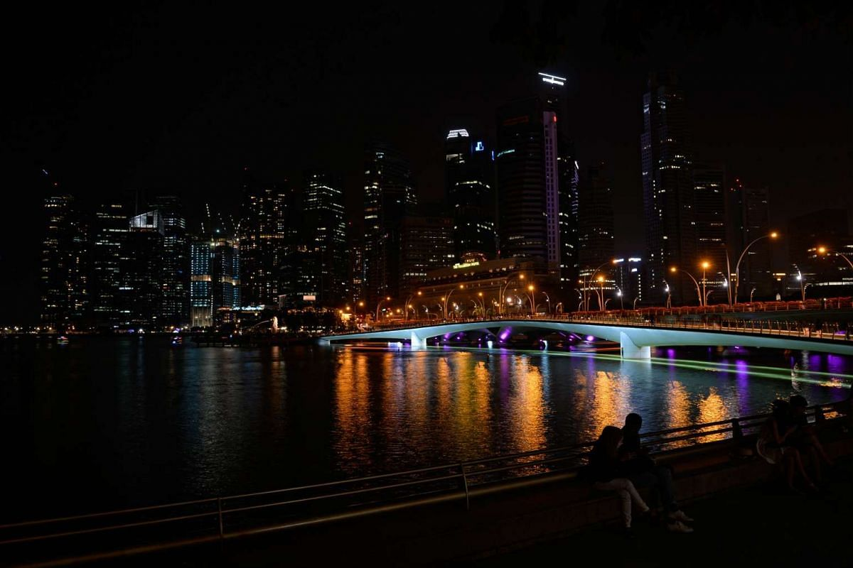 The CBD from Esplanade Park during Earth Hour on March 19, 2016.